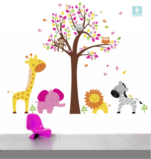 vinilo-decorativo-pink-lovely-animal-tree